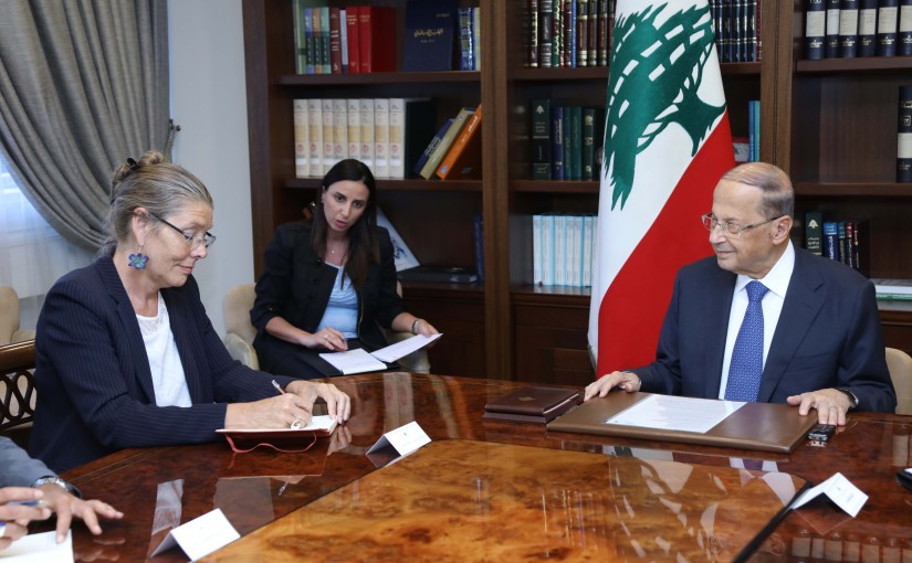 President Michel Aoun Meets  Acting United Nations Special Coordinator for Lebanon Pernille Dahler Kardel