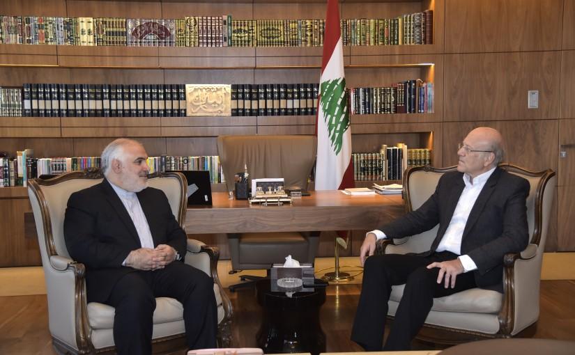 Former Pr Minister Najib Mikati meets Iranian Ambassador