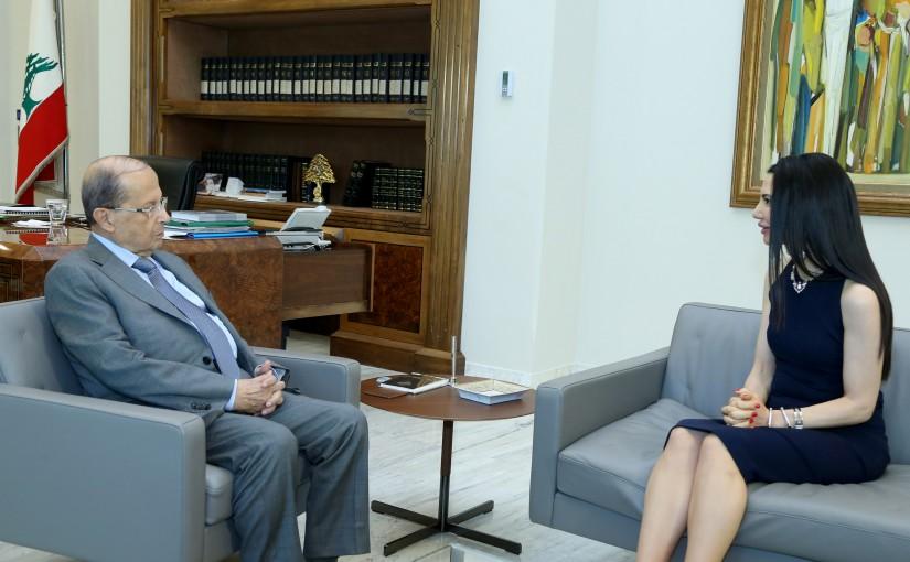 President Michel Aoun meets Amb. Aline Younes.