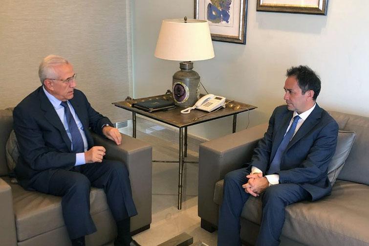Former President Michel Sleiman Meets Former Minister Ziad Baroud