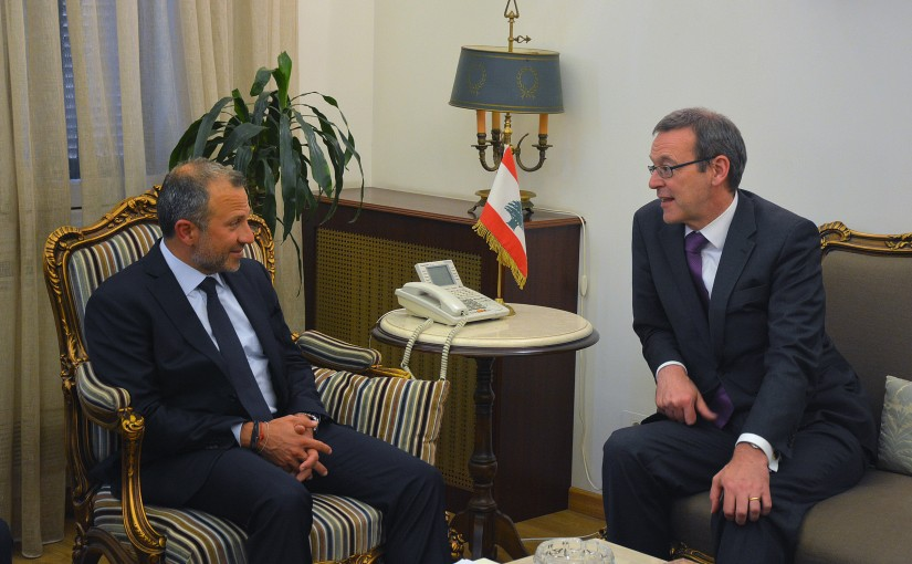 Minister Gebran Basil Meets British Permanent Under-Secretary at the Foreign and Commonwealth Office Simon McDonald
