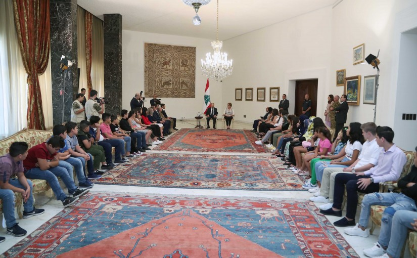 President Michel Aoun & The First Lady Nadia Aoun Receiving The Children of The Lebanese Army Martyrs