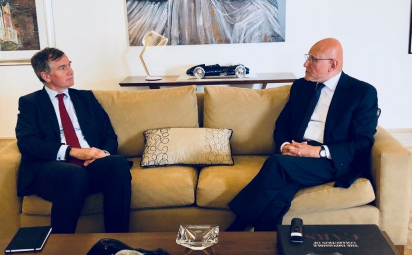 Former Pr Minister Tammam Salam meets British Ambassador