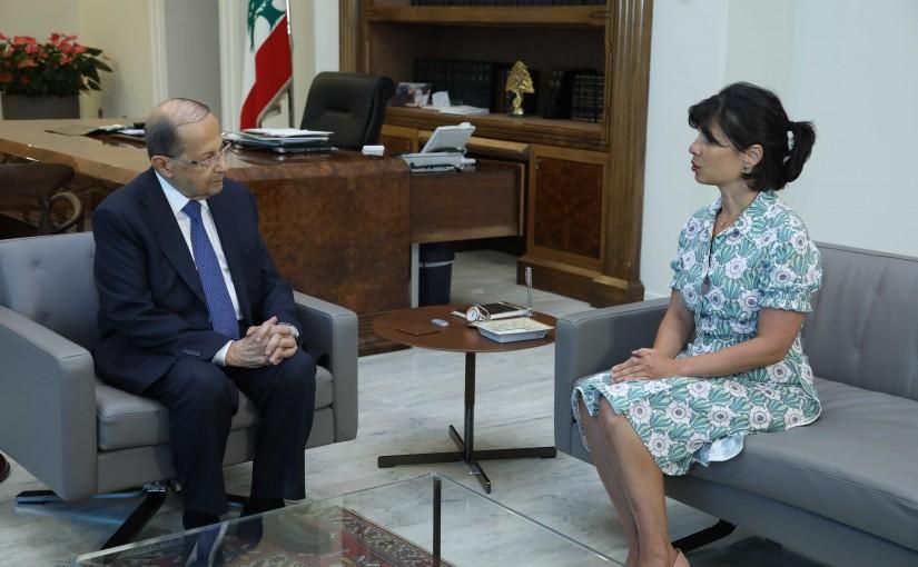 President Michel Aoun Meets Lebanese Ambassador in Switzerland Roula Nour Eddine