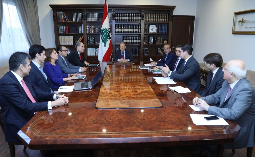 President Michel Aoun Meets Minister Raed Khoury with a Delegation From Mackenzie Investments