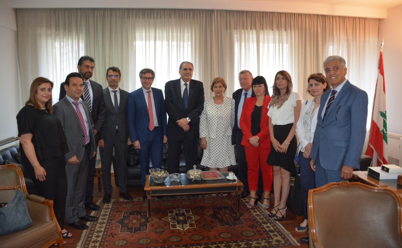 Minister Selim Jreissati meets  Didier Coiffard  President of the Supreme Council of notaries in France  with a delegation.