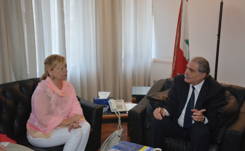 Minister Selim Jreissati meets Elena Valenciano Head of The European Union's Observation Mission to Monitor the Preparations and Organization of the Vote