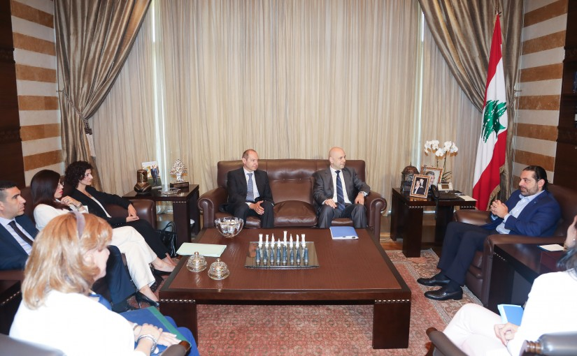 Pr Minister Saad Hariri meets Minister Ghassan Hassbani with a Delegation