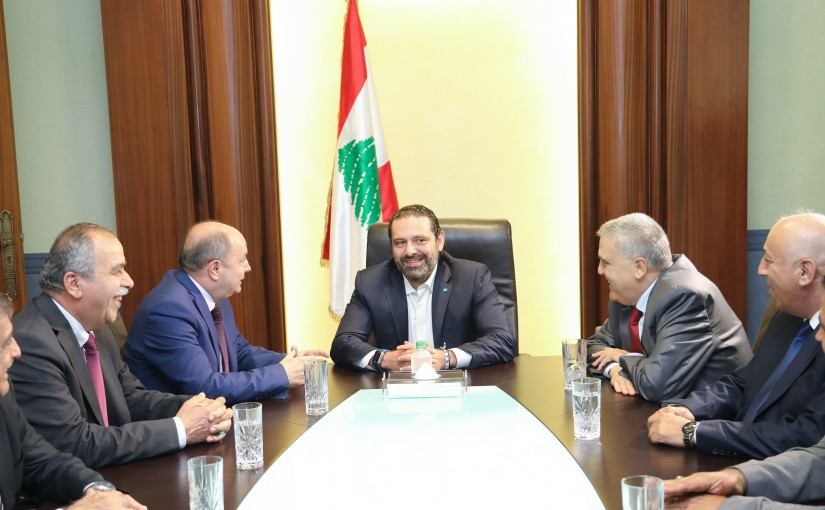 Pr Minister Saad Hariri meets a Delegation from Labour Union