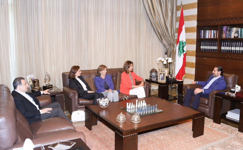 Pr Minister Saad Hariri meets Mrs Noura Jounblat with a Delegation