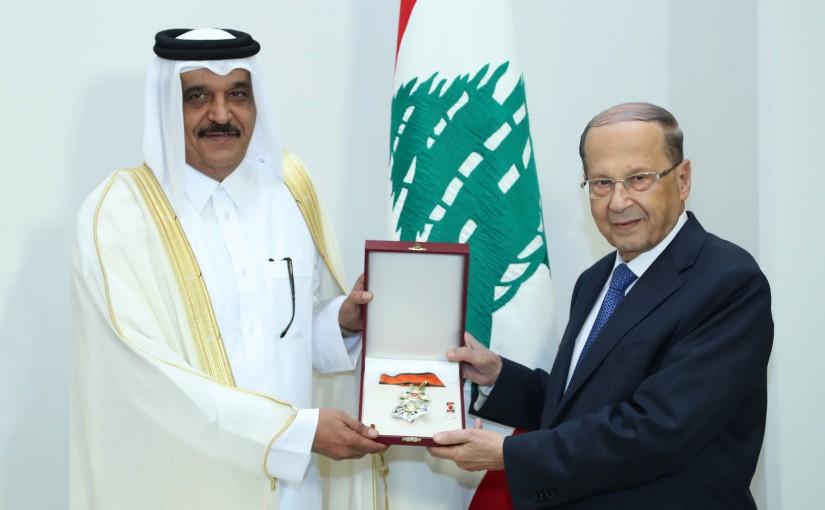 President Michel Aoun Meets Qatar Ambassador Ali Bin Hamad Al Marr