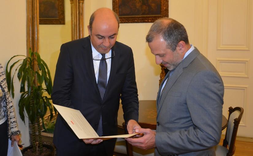 Minister Gebran Basil Meets Turkish Ambassador