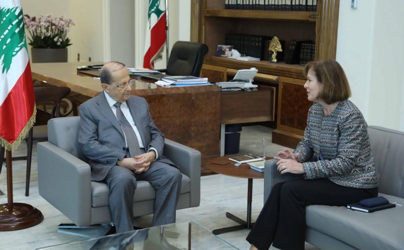 President Michel Aoun Meets US Ambassador Elizabeth Richard