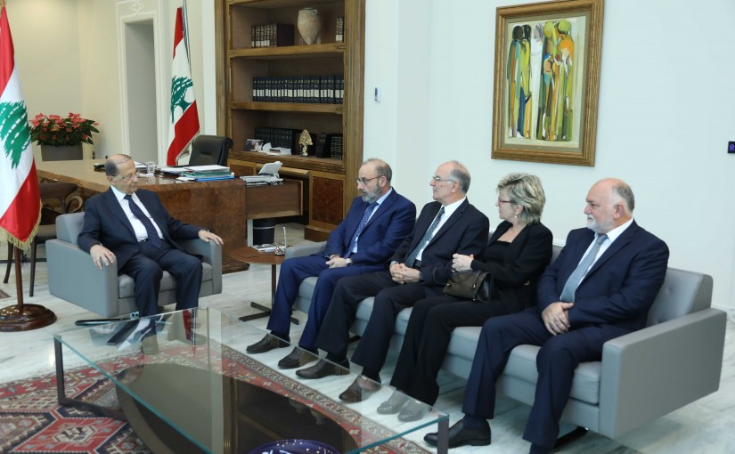 President Michel Aoun Meets Minister Yaacoub Sarraf with a Delegation