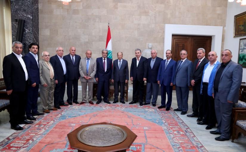 President Michel Aoun meets Naim Saleh Khalil