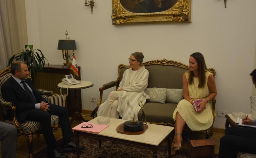 Minister Gebran Bassil meets Mrs Pernille Darrell