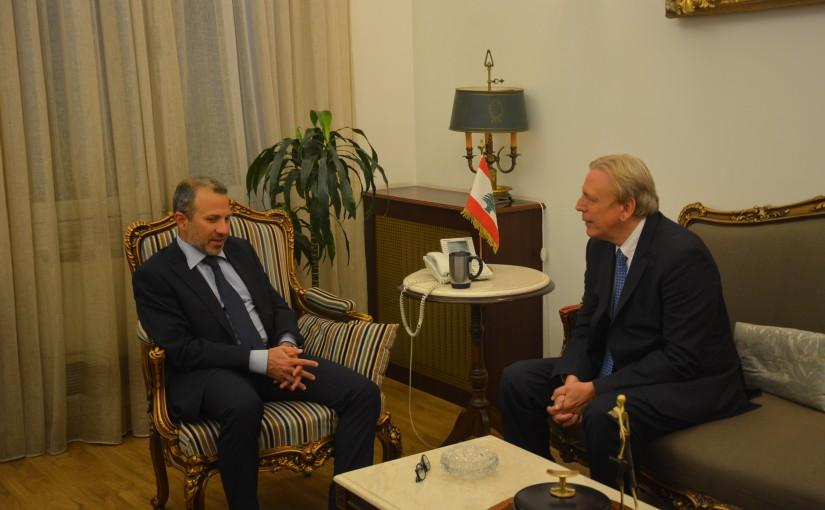 Minister Gebran Bassil meets Belgium Ambassador