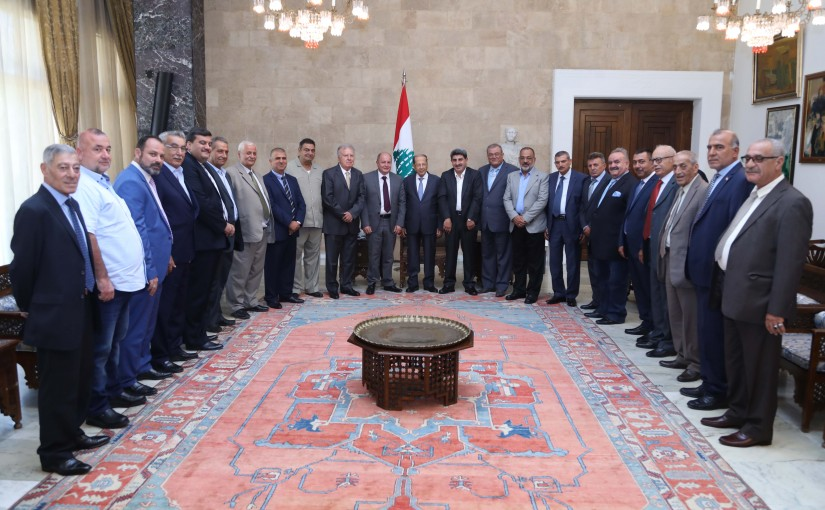 President Michel Aoun Meets a Delegation From Land Transport Union
