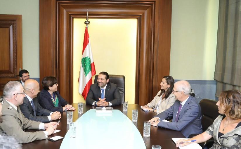 Pr Minister Saad Hariri meets Italian Minister of Defense
