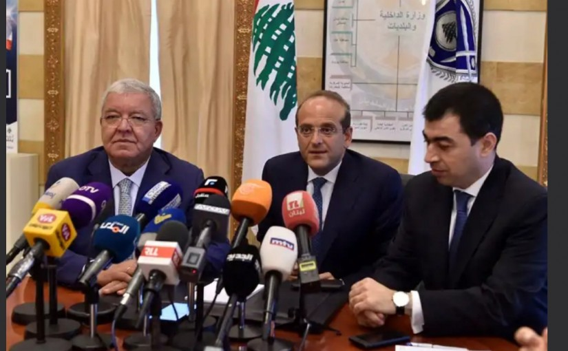 Minister Nouhad Machnouk meets Minister Cesar abi Khalil &  Minister Raed Khoury