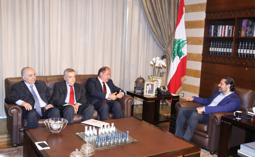 Pr Minister Saad Hariri meets Mr Charles Arbid with a Delegation