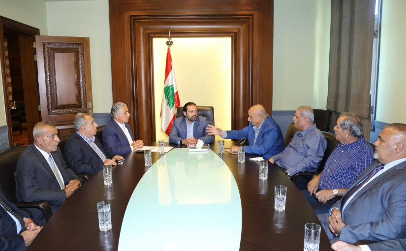 Pr Minister Saad Hariri meets a Delegation from Fruits Syndicate