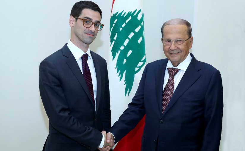 President Michel Aoun meets Assistant Secretary for International Security Affairs Robert Story Karem