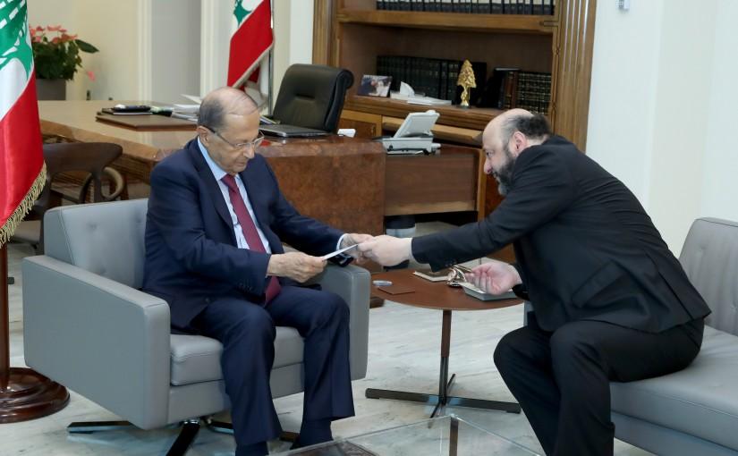 President Michel Aoun meets Minister Melhem Riachi