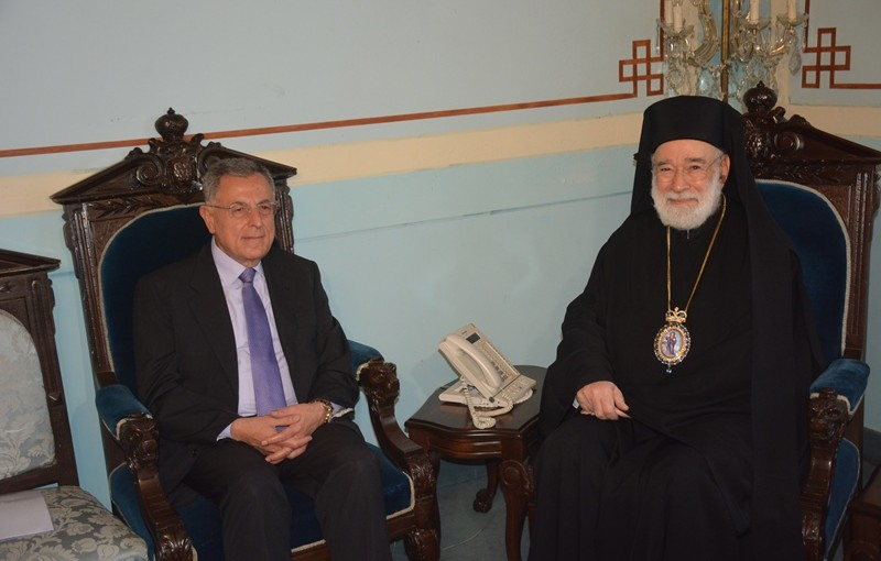 Former Pr Minister Fouad Siniora Meets Bishop Elias Aoude