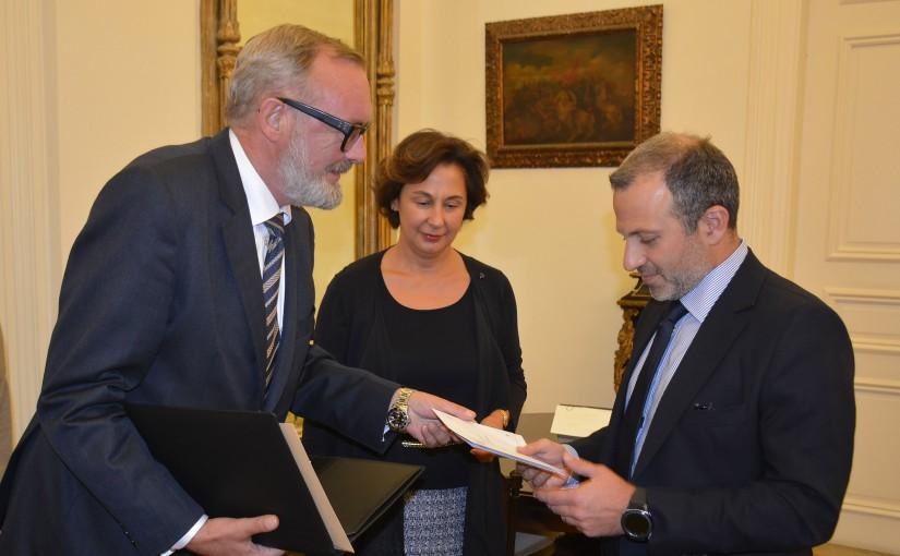 Minister Gebran Basil Meets Belgium Ambassador