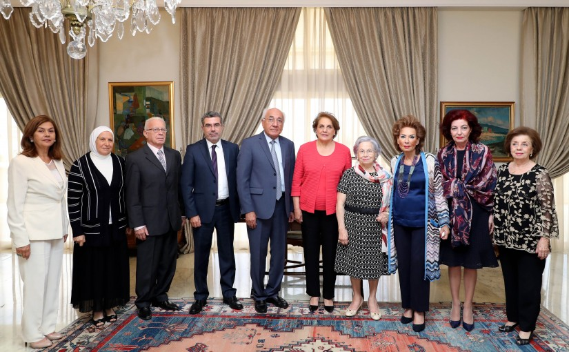 The First Lady Mrs Nadia Aoun Meets a Delegation From Dar Al-Amal Association