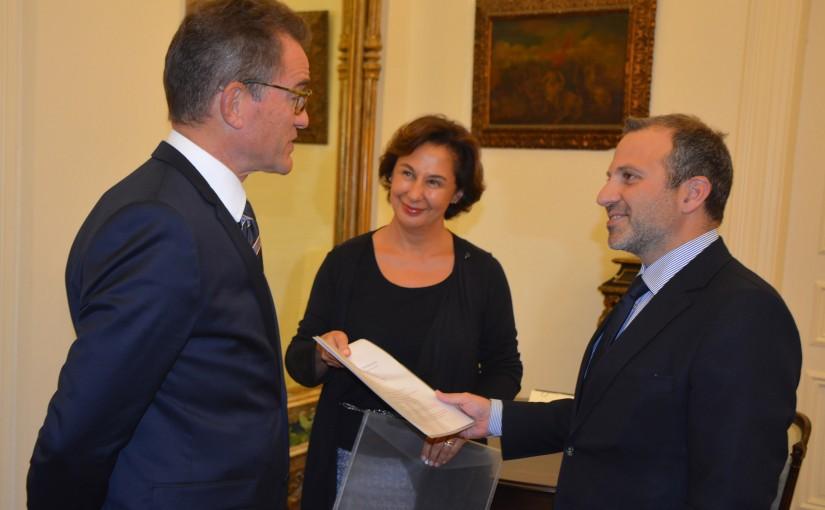 Minister Gebran Basil Meets German Ambassador