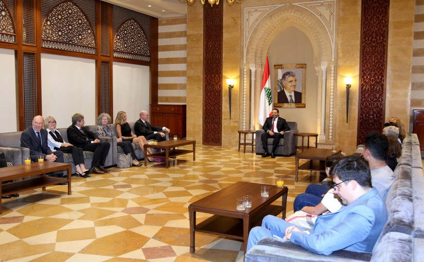 Pr. Minister Saad Hariri meets  Swiss MP Marcos Houter and Swiss Ambassador to Lebanon, Monika Schmutz Kirgöz,  with a delegation.