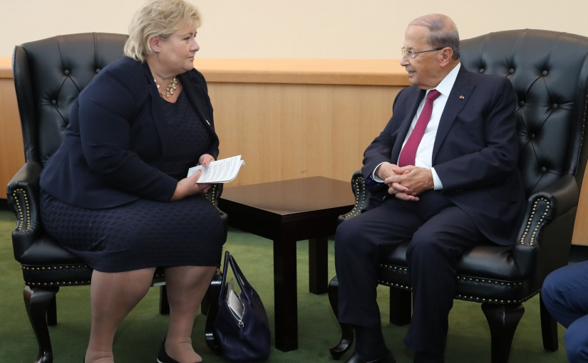 President Michel Aoun meets Norway Pr Minister Erna Solberg