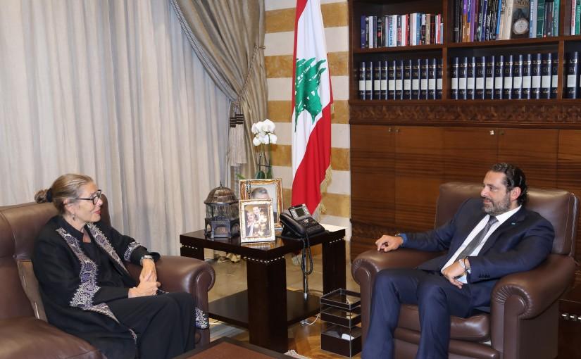 Pr Minister Saad Hariri meets Mrs Pernille Darrell