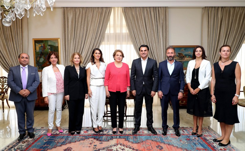 The First Lady Mrs Nadia Aoun Meets a Delegation From Rachaya Festivals Committee