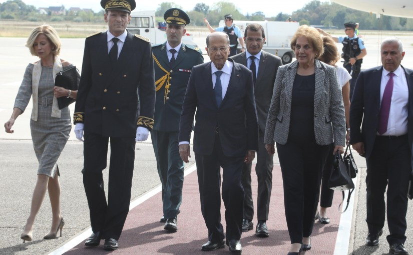 The arrival of president Aoun At Strasbourg international airport