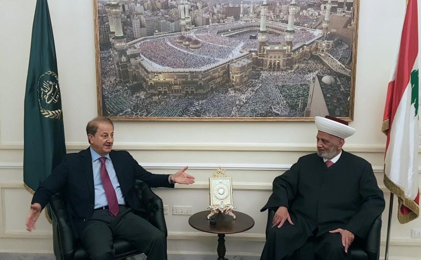 Mufti Abdel Latif Derian Meets Former Minister Talal Merhebi
