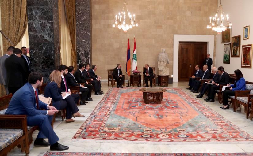 President Michel Aoun meets Armenian Pr Minister Nikol Pashinyan