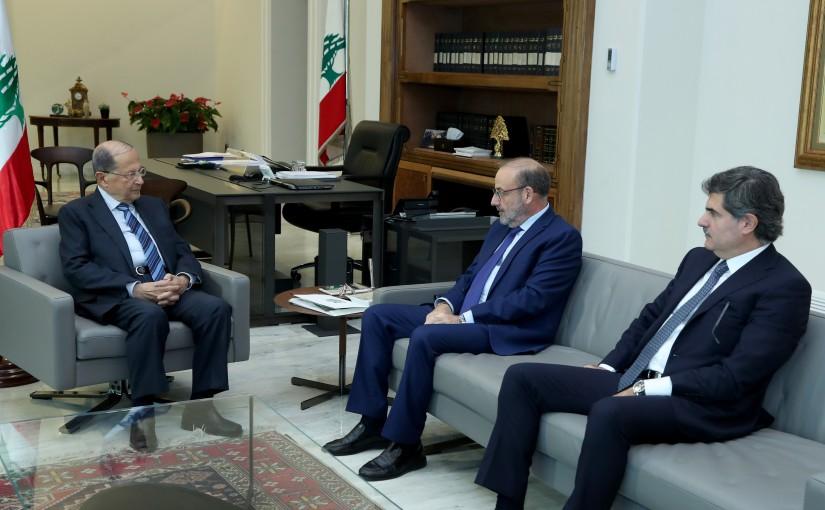 President Michel Aoun meets Minister Yacoub Saraf