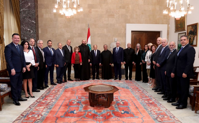 President Michel Aoun meets  Father Pierre Najem With A Delegation From NDU