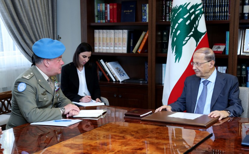 President Michel Aoun meets Head of Force Commander of the United Nations Interim Force in Lebanon Major General Stefano Del Col