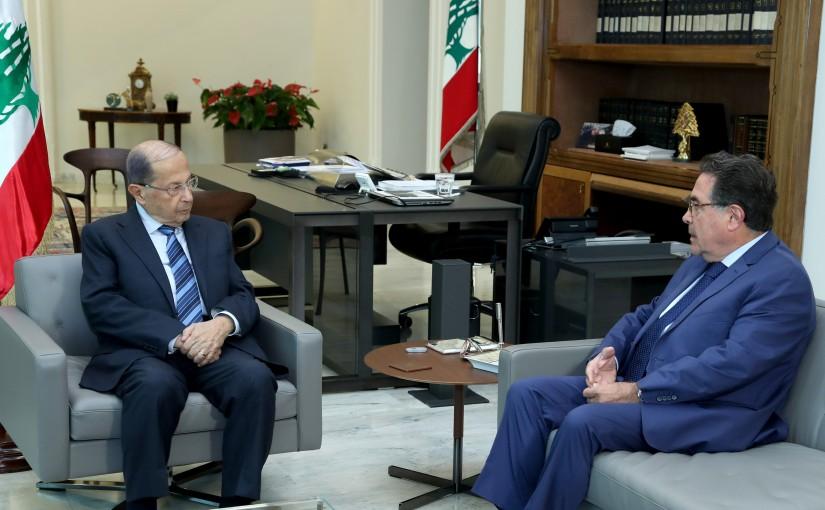 President Michel Aoun meets Minister Nicolas Tuwayni