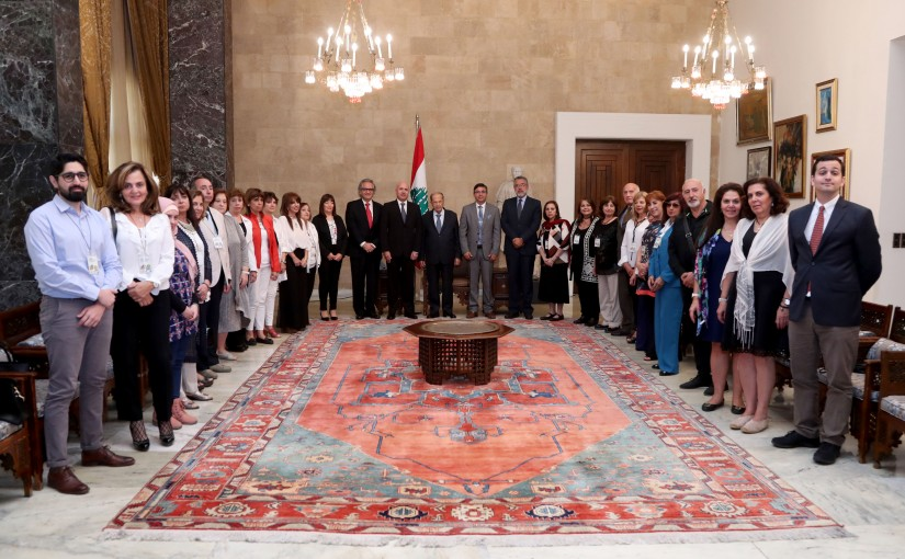 President Michel Aoun meets  Dr Walter Muller With Lebanese expatriate academic delegation from Argentina