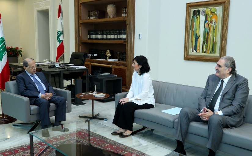 President Michel Aoun meets Head of the defense office at the Special Tribunal for Lebanon Dorothee le fraper du hellen
