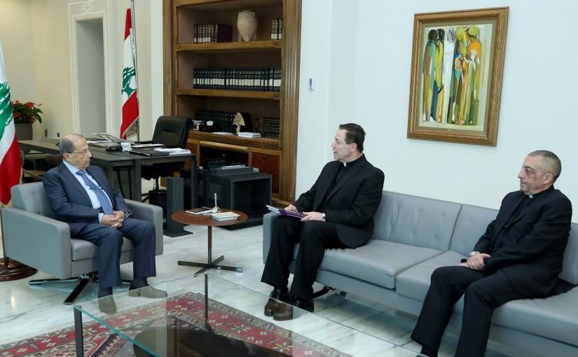 President Michel Aoun meets Father Emmanuel Nakhle & Father Roland Mrad