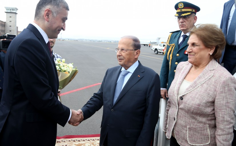 The Arrival of President Michel Aoun at  Zvartnots Airport (Armenia).
