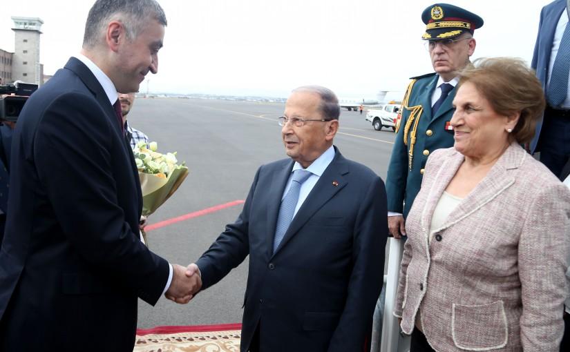 The Arrival of President Michel Aoun at  Zvartnots Airport (Armenia).