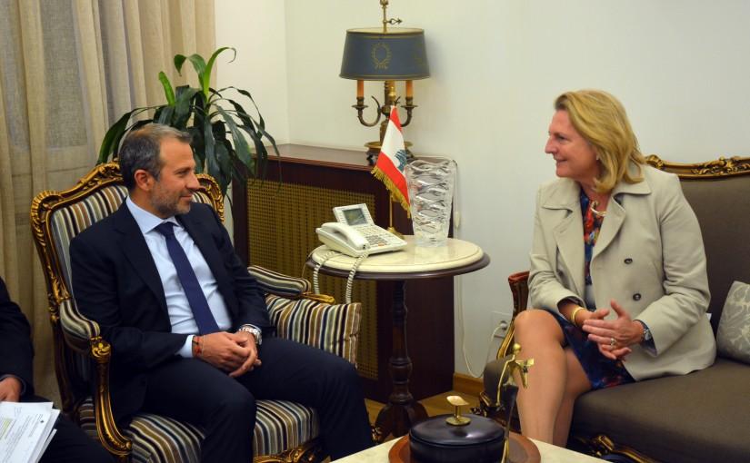 Minister Gebran Basil Meets Austria Minister of Foreign Affairs Karin Kneissl