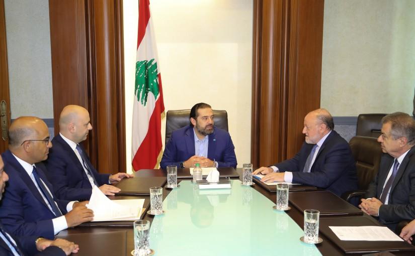 Pr Minister Saad Hariri meets Minister Ghassan Hassbani with a Delegation